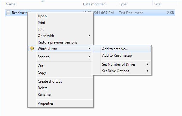 WinArchiver - Create 7Z File